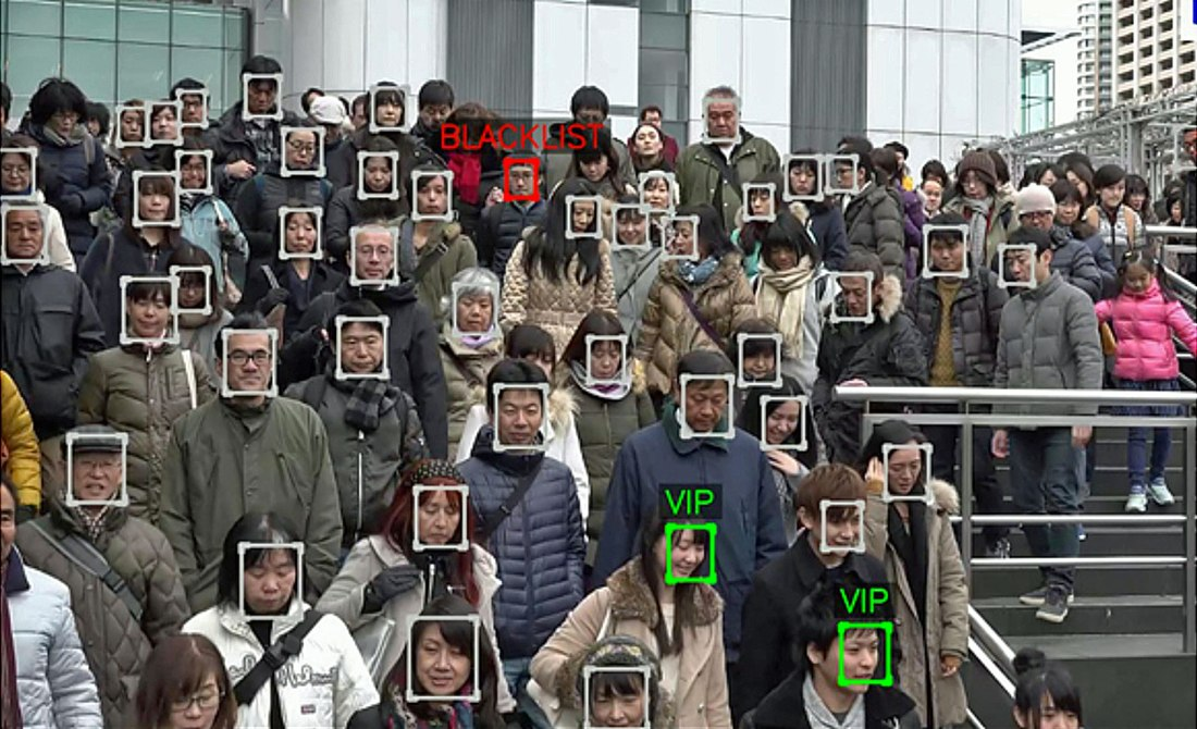 Facial recognition in a crowd